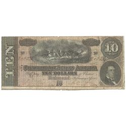 1864 $10 The Confederate States of America Note T-68 CC