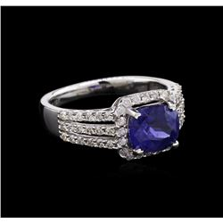 GIA Cert 2.69 ctw Sapphire and Diamond Ring - 18KT White Gold