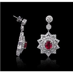 14KT White Gold 4.32 ctw Ruby and Diamond Earrings