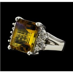 5.87 ctw Ametrine and Diamond Ring - 14KT White Gold
