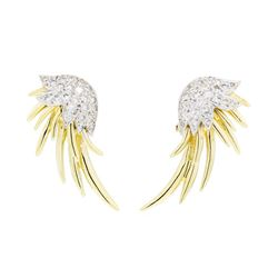 1.20 ctw Diamond Earrings - 14KT Yellow and White Gold