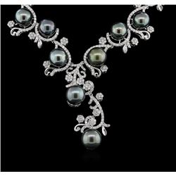 Tahitian Pearl and Diamond  Necklace - 14KT White Gold