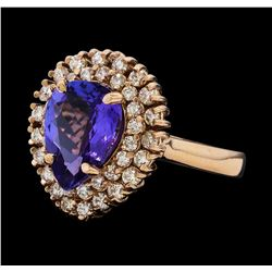 2.75 ctw Tanzanite and Diamond Ring - 14KT Rose Gold