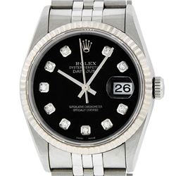 Rolex Mens SS Black Diamond Datejust Quickset Sapphire Wristwatch