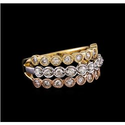 1.05 ctw Diamond Ring - 14KT Tri Color Gold