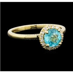 0.82 ctw Apatite and Diamond Ring - 14KT Yellow Gold
