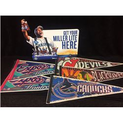 VINTAGE PENNANTS AND KEN GRIFFY JR MILLER LITE TIN SIGN