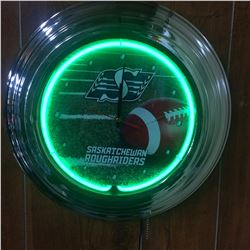 SASKATCHEWAN ROUGHRIDERS NEON WALL CLAOCK