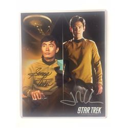 DUAL SIGNED GEORGE TAKEI AND JOHN CHO SIGNED 8 X 10 STAR TREK W COA