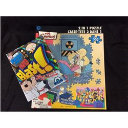 FAMILY GUY DVD TRIVIA GAME AND VINTAGE SIMPSONS PUZZLE COMPLETE
