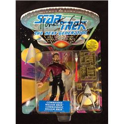 STAR TREK COMMANDER WILLIAM RIKER ACTION FIGURE ON CARD SIGNED BY JONATHAN FRAKES