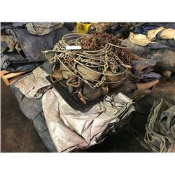 PALLET LOT ASSORTED CARGO TARPS, CHAINS & STRAPS