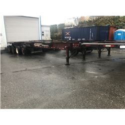2002 RAJA 40' SUPER CHASSIS CONTAINER TRAILER TRIDEM AXLE W/LIFT AXLE, HEAVY HAUL WITH WORK DECK