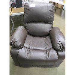 BROWN  FAUX LEATHER RECLINING CHAIR MISSING SIDES