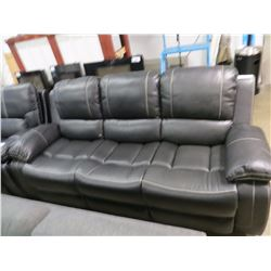 NEW BLACK & WHITE STITCHING FAUX LEATHER RECLINING 3 SEATER SOFA