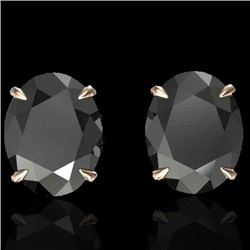 10 CTW Black VS/SI Diamond Designer Solitaire Stud Earrings 14K Rose Gold - REF-212Y2N - 21654