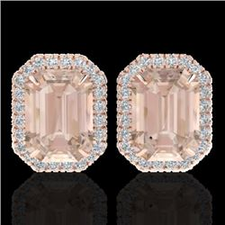 8.40 CTW Morganite & Micro Pave VS/SI Diamond Halo Earrings 14K Rose Gold - REF-202W8H - 21229