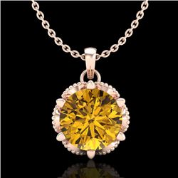 1.36 CTW Intense Fancy Yellow Diamond Art Deco Stud Necklace 18K Rose Gold - REF-180M2F - 38107