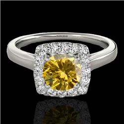 1.37 CTW Certified Si Fancy Intense Yellow Diamond Solitaire Halo Ring 10K White Gold - REF-167W3H -