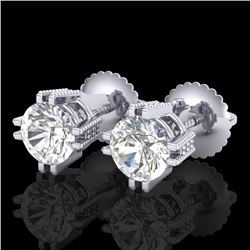 1.07 CTW VS/SI Diamond Solitaire Art Deco Stud Earrings 18K White Gold - REF-200W2H - 36911
