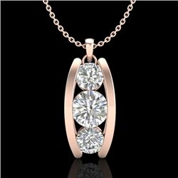 1.07 CTW VS/SI Diamond Solitaire Art Deco Stud Necklace 18K Rose Gold - REF-158W2H - 37014