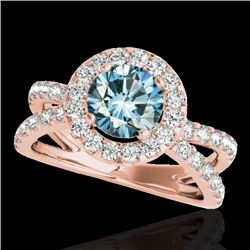2.01 CTW SI Certified Fancy Blue Diamond Solitaire Halo Ring 10K Rose Gold - REF-209X3T - 34031