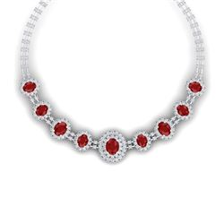 45.69 CTW Royalty Ruby & VS Diamond Necklace 18K White Gold - REF-1618F2M - 38793