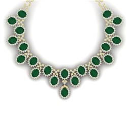 81 CTW Royalty Emerald & VS Diamond Necklace 18K Yellow Gold - REF-1618R2K - 38621