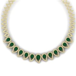 33.4 CTW Royalty Emerald & VS Diamond Necklace 18K Yellow Gold - REF-1236H4W - 39437