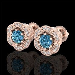 1.51 CTW Fancy Intense Blue Diamond Art Deco Stud Earrings 18K Rose Gold - REF-178K2R - 37965