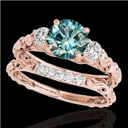 1.35 CTW SI Certified Fancy Blue Diamond 3 Stone Set 10K Rose Gold - REF-174Y5N - 35436