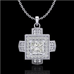 0.84 CTW Princess VS/SI Diamond Micro Pave Necklace 18K White Gold - REF-149K3R - 37190