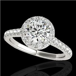 1.4 CTW H-SI/I Certified Diamond Solitaire Halo Ring 10K White Gold - REF-160K2R - 33580