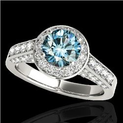 1.8 CTW SI Certified Fancy Blue Diamond Solitaire Halo Ring 10K White Gold - REF-178H2W - 34047