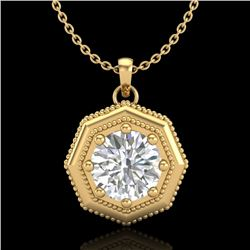 0.75 CTW VS/SI Diamond Solitaire Art Deco Necklace 18K Yellow Gold - REF-180K2R - 37099