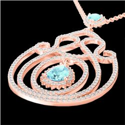3.20 CTW Sky Blue Topaz & Micro VS/SI Diamond Heart Necklace 14K Rose Gold - REF-162M4F - 22444