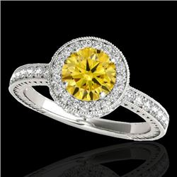 1.51 CTW Certified Si Fancy Intense Yellow Diamond Solitaire Halo Ring 10K White Gold - REF-180N2Y -