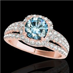 2 CTW SI Certified Blue Diamond Solitaire Halo Ring 10K Rose Gold - REF-180W2H - 34004