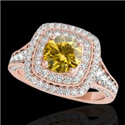 2 CTW Certified Si Fancy Intense Yellow Diamond Solitaire Halo Ring 10K Rose Gold - REF-209N3Y - 336