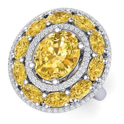 7.21 CTW Royalty Canary Citrine & VS Diamond Ring 18K White Gold - REF-163W6H - 39252