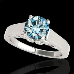 1 CTW SI Certified Fancy Blue Diamond Solitaire Ring 10K White Gold - REF-144K5R - 35142