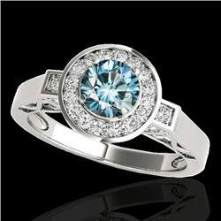 1.5 CTW SI Certified Fancy Blue Diamond Solitaire Halo Ring 10K White Gold - REF-180Y2N - 34572