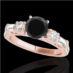 2.5 CTW Certified Vs Black Diamond Pave Solitaire Ring 10K Rose Gold - REF-138H8W - 35484