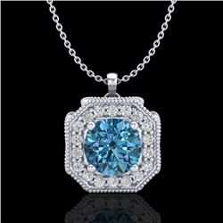 1.54 CTW Fancy Intense Blue Diamond Solitaire Art Deco Necklace 18K White Gold - REF-216W4H - 38293