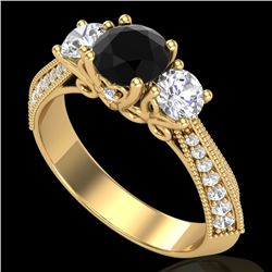 1.81 CTW Fancy Black Diamond Solitaire Art Deco 3 Stone Ring 18K Yellow Gold - REF-180X2T - 38026