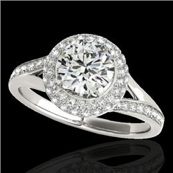 1.6 CTW H-SI/I Certified Diamond Solitaire Halo Ring 10K White Gold - REF-178X2T - 34114