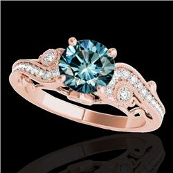 1.5 CTW SI Certified Fancy Blue Diamond Solitaire Antique Ring 10K Rose Gold - REF-200M2F - 34807