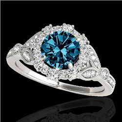 1.5 CTW SI Certified Fancy Blue Diamond Solitaire Halo Ring 10K White Gold - REF-174F5M - 33765