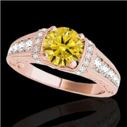 1.5 CTW Certified Si Intense Yellow Diamond Solitaire Antique Ring 10K Rose Gold - REF-180W2H - 3478