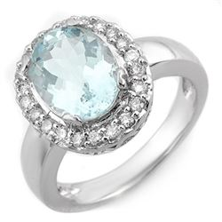 3.40 CTW Aquamarine & Diamond Ring 10K White Gold - REF-57X5T - 11240